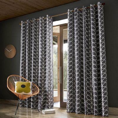 Orla Kiely - Linear Stem - Charcoal - Eyelet Curtains - 46x54