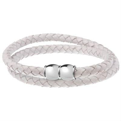 Urban Male Bacau White Plaited Leather Men's Double Wrap Style Bracelet