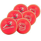 6 X Woodworm Junior Special 4 3/4Oz Cricket Ball Pink
