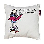 Roald Dahl 'Bookworm' Matilda Scatter Cushion, 30 x 30cm