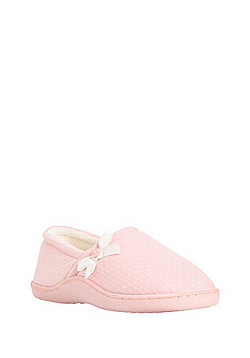 F&F Spot and Stripe Closed Back Slippers - Pink