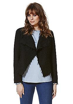 Vero Moda Frayed Textured Blazer - Black
