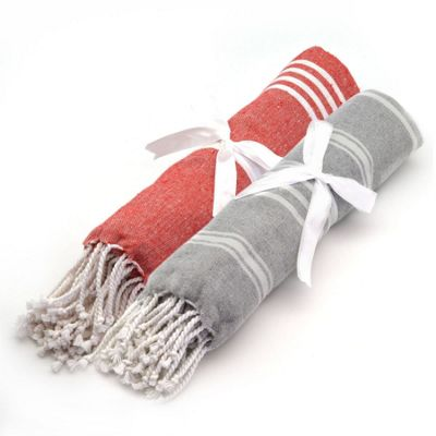 Turkish Beach / Bath / Yoga / Hammam, Peshtemal Towel 100% Cotton - Grey & Red