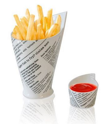 Maxwell Williams Newsprint French Fries and Sauce Cups