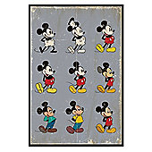 Walt Disney Mickey Mouse Gloss Black Framed Evolution Poster