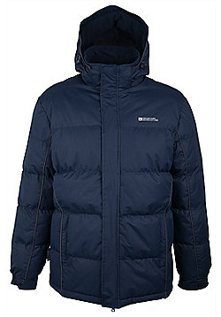 Mens Snow Padded Warm Hooded Puffa Water Resistant Winter Puffer Jacket Coat - Blue