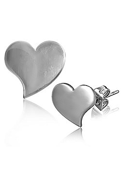 Urban Male Stainless Steel Curved Love Heart Stud Earrings For Men