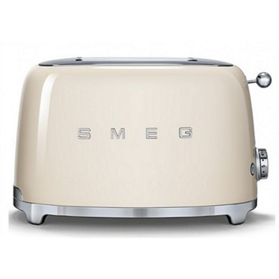 Smeg TSF01CRUK 50's Retro Style 2 Slice Toaster in Cream   Defrost, Bagel & Reheat