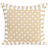 Homescapes Cotton Beige Stripe Border and Stars Scatter Cushion, 60 x 60 cm
