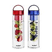 VonShef 2 Pack Water Bottle with Fruit Infuser Set