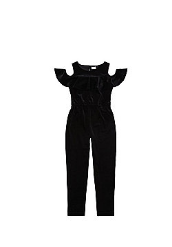 F&F Frill Trim Velvet Jumpsuit - Black