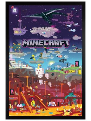 Minecraft Black Wooden Framed World Beyond Poster 61 x 91.5cm