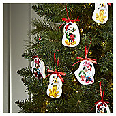 Disney Mickey Mouse Christmas Tree Decorations, 6 pack