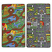 Children's Dual Playmat 100x165cm Roadmap/Farmlife Rug