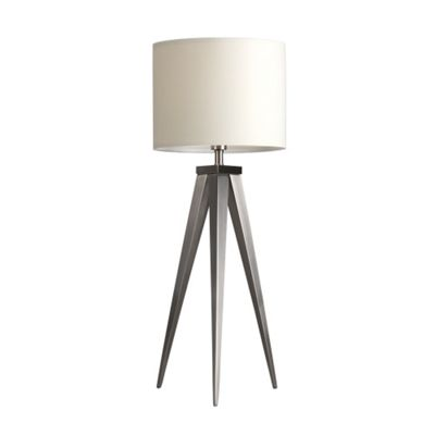 Caligula Large Brushed Chrome Tripod Table Lamp & Cream Rolla Shade