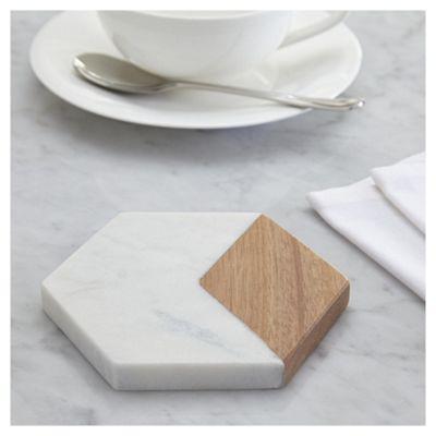 Fox & Ivy Pack of 4 Wood & Marble Coasters