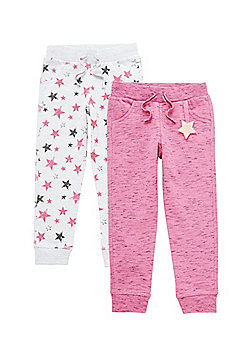 F&F 2 Pack of Space Dye and Star Print Joggers - Multi