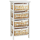 VonHaus 4 Wicker Basket Storage Bathroom Cabinet Drawers - White