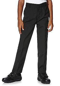 F&F School 2 Pack of Boys Teflon® Flat Front Slim Leg Trousers - Dark grey