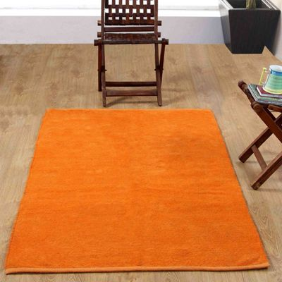 Homescapes Chenille Plain Cotton Small Rug Orange, 45 x 70 cm