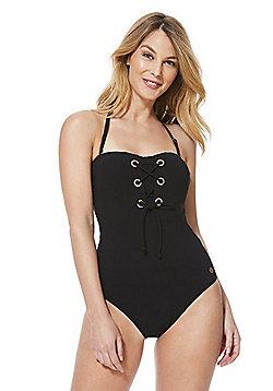 F&F Luxury Swimwear Lace-Up Bandeau Swimsuit - Black