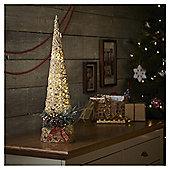 Small Pre Lit Rattan Cone Christmas Tree Room Decoration