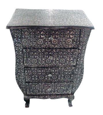 Chaandhi Kar Black-Silver Embossed 4-Drawer Chest of Drawers Width: 55cm