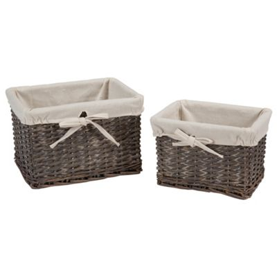Tesco Wicker Fabric Lined Baskets, Set of 2, Grey