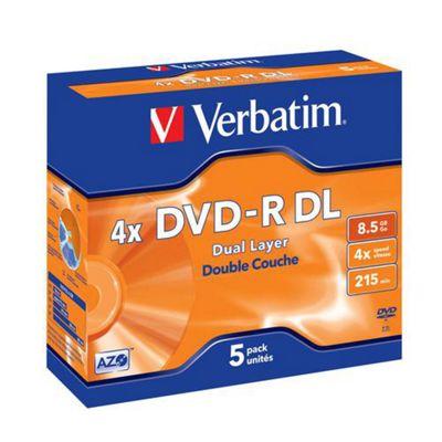 Verbatim DVD-R Dual Layer 4X 8.5GB Disc, 5-pack Branded Jewel Case