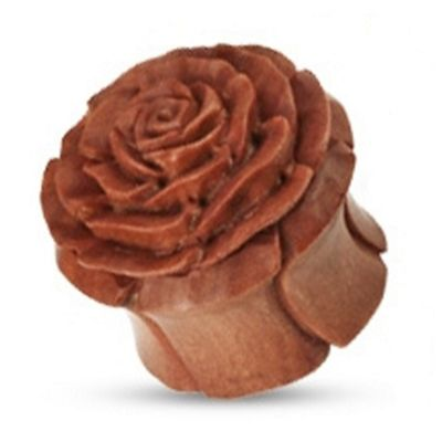 Urban Male Brown Organic Wooden Rose Flesh Plug Hand Carved & Double Flared 10mm