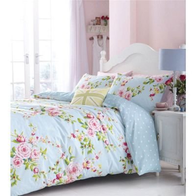 Catherine Lansfield Canterbury Super King Quilt Cover Set - Duck Egg
