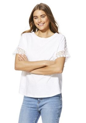 F&F Lace Shoulder T-Shirt White 20