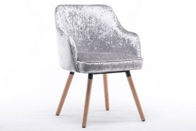 Hopton Modern Crushed Silver Velvet Occasional Accent Chair