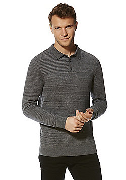 F&F Space Dye Knitted Polo Shirt - Grey