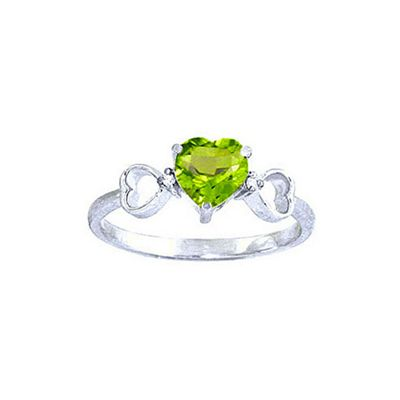 QP Jewellers Diamond & Peridot Trinity Heart Ring in 14K White Gold - Size P