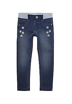 F&F Daisy Embroidered Rib Waist Jeans - Mid wash