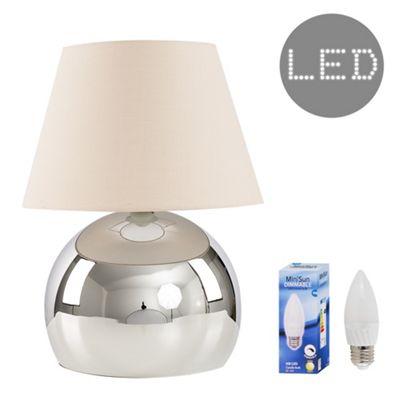 Mojo 40cm Touch LED Table Lamp - Chrome & Beige