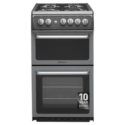 Hotpoint HAG51G, Freestanding, Gas Cooker, 50cm, Graphite, Twin Cavity, Single Oven