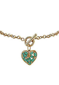 Gemondo 9ct Yellow Gold 0.66ct Emerald Heart Charm 19cm Bracelet