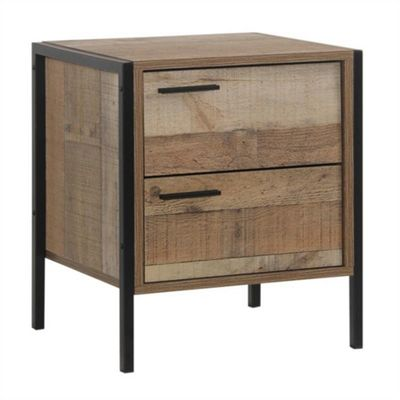 Stretton 2 Drawers Bedside Table - Rustic