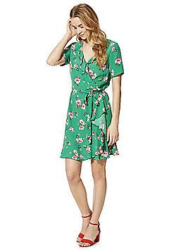 F&F Floral Print Ruffle Wrap Dress - Green