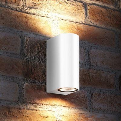Auraglow 14w Outdoor Double Up & Down Wall Light - White - Warm White