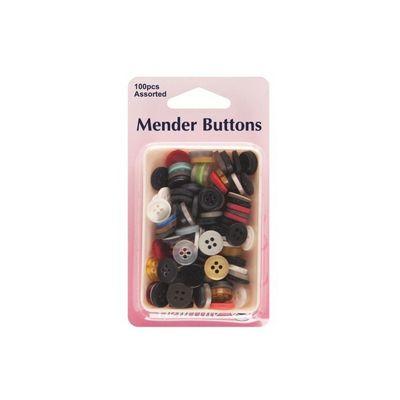 Hemline Mender Buttons Assorted 100 Pack