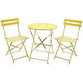 Charles Bentley 3 Piece Metal Bistro Set Garden Patio Table & 2 Chairs - Yellow