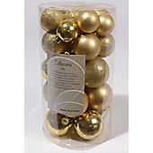 Shatterproof Mixed 30 Chrismas Baubles - GOLD - Various Sizes