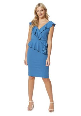 Feverfish Frill Detail Peplum Dress 18 Teal