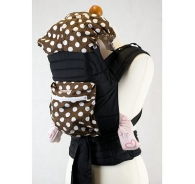 Mei Tai With Hood & Pocket - Brown with White Spots