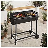 Tesco Dual Grill Charcoal BBQ, Black