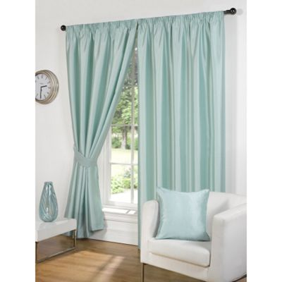 Hamilton McBride Faux Silk Pencil Pleat Duck Egg Curtains - 66x72 Inches (168x183cm) Includes Tiebacks