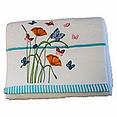 Homescapes Egyptian Cotton Embroidered Butterfly White Hand Towel